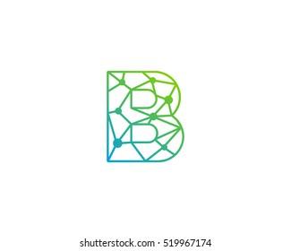 Connect Line Letter B Logo Design Template Element
