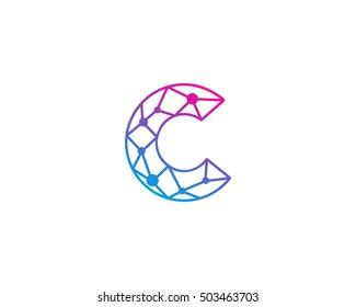 Connect Line Letter C Logo Design Template Element