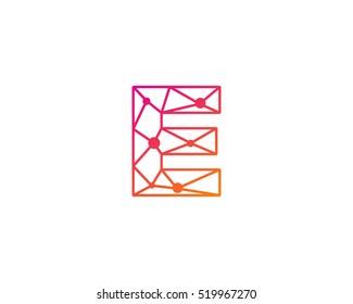 Connect Line Letter E Logo Design Template Element