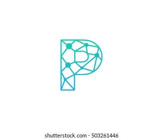 Connect Line Letter P Logo Design Template Element