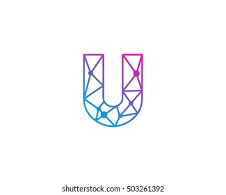 Connect Line Letter U Logo Design Template Element