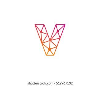 Connect Line Letter V Logo Design Template Element