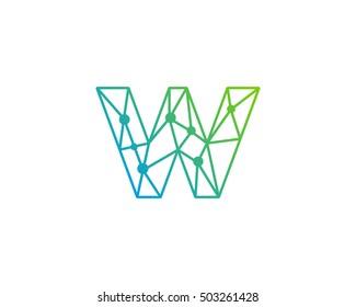 Connect Line Letter W Logo Design Template Element