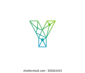 Connect Line Letter Y Logo Design Template Element