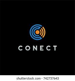 Connect logo design, Letter c vector illustration