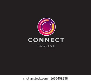 Connect Modern logo with letter c. business corporate template.Vector design elements for your company logo.