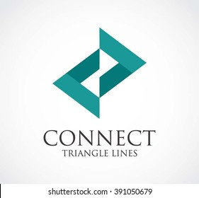 Connect triangle of arrow line abstract vector and logo design or template ribbon connection business icon of company identity symbol concept
