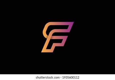 connected alphabet letter FC, CF, F logo design