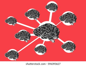 Connected brains. Represents human as social being or  knowledge sharing.