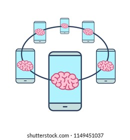 Connected brains. Vector concept illustration of brain network connected with smartphones | flat design linear infographic icon colorful on white background