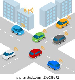 Connected Car or Intelligent Car vector illustration
