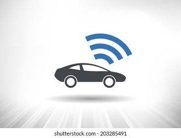 The Connected Car. Smart car icon with wireless connectivity symbol. Side view. Fully scalable vector illustration.