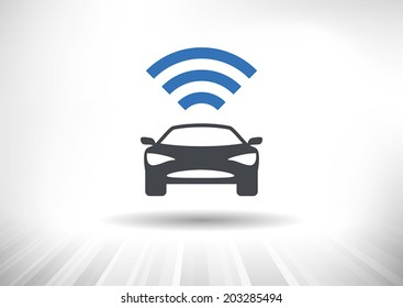 The Connected Car. Smart car icon with wireless connectivity symbol. Front view. Fully scalable vector illustration.