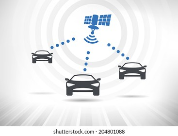 Connected Cars. Concept with intelligent cars connected via satellite. Cars in front view. Fully scalable vector illustration.