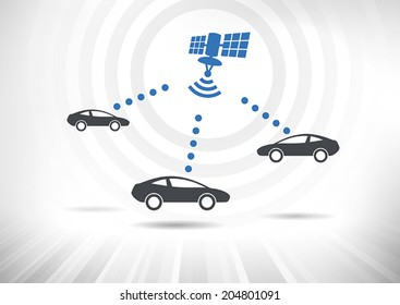 Connected Cars. Concept with intelligent cars connected via satellite. Cars in side view. Fully scalable vector illustration.