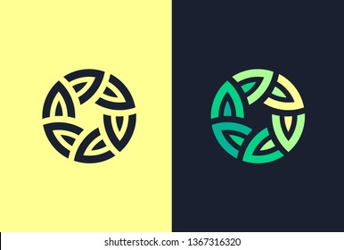 Connected circle with green leaves - plant logo. Logo US.