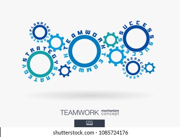Connected cogwheels concept. Teamwork success, strategy plan, research words. Integrated gears, text. Business team work communication idea. Cog wheel collaboration mechanism. Vector infograph system