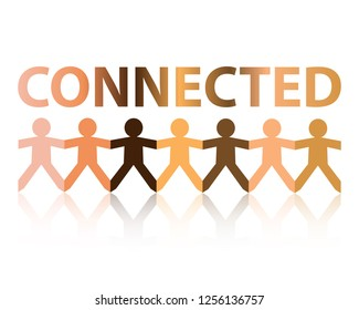 Connected cut out paper people chain in different skin tone colors