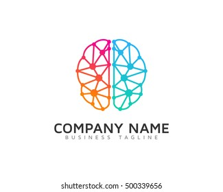 Connected Dot Line Brain Logo Template