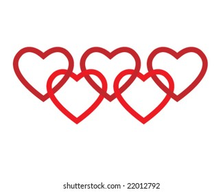 connected five red hearts logo