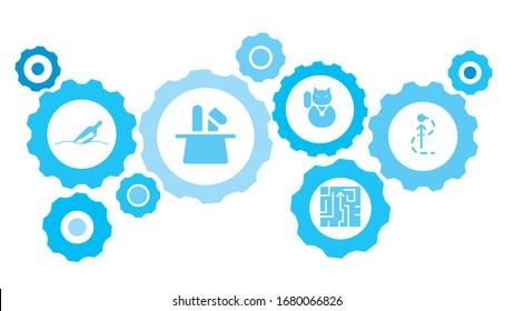 Connected gears and vector icons for logistic, service, shipping, distribution, transport, market, communicate concepts. Big, fish, small, business gear blue icon set
