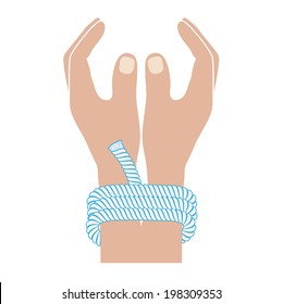 connected hands drawing in flat style