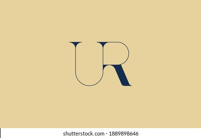 connected letter R with U, thin lining UR logo design