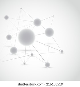 Connected molecule modeling construction high-tech background. Vector illustration