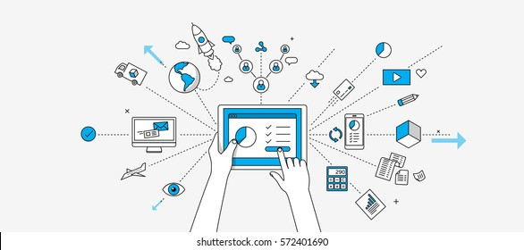 Connected on mobile device. Internet of things concept. Modern illustration in linear style infographics.