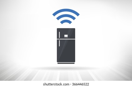 Connected Refrigerator. Smart refrigerator concept with wireless connectivity symbol. Fully scalable vector illustration.