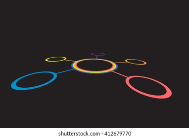Connected round circles between each other. Abstract network vector. Color ring isolated on black background. Modern network. Network system. Strategic distribution. Technology system.