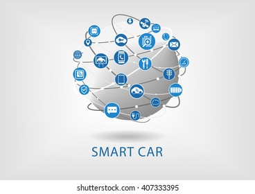 Connected smart car vector infographic and background