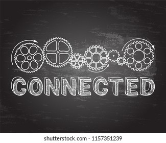 Connected text with gear wheels hand drawn on blackboard background