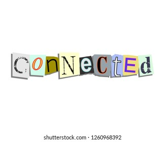 Connected word in torn paper letters text
