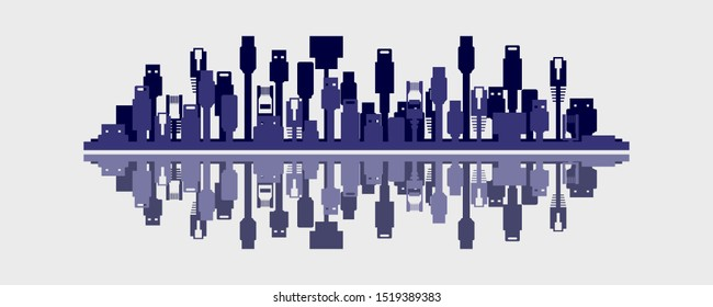 Connected world concept of a city skyline made up of device cables in flat design vector