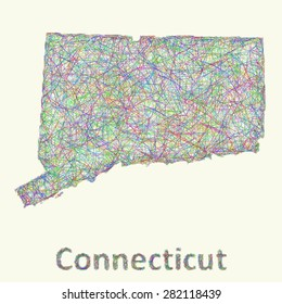 Connecticut line art map