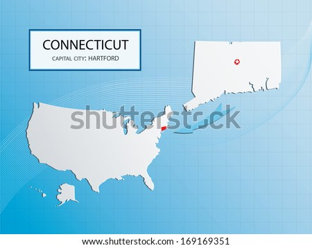 Capital Of Usa Map.Connecticut Map Capital City Hartford Marked Stock Vector Royalty