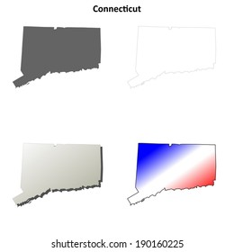 Connecticut outline map set - vector version