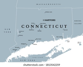 Connecticut, political map with capital Hartford. State of Connecticut, CT, southernmost state in New England region of northeastern United States of America. Gray illustration, over white. Vector.
