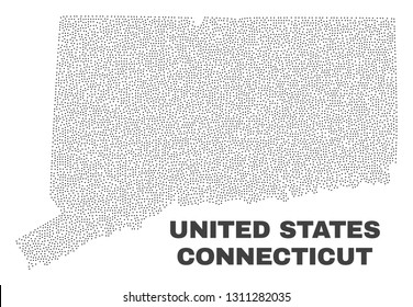 Connecticut State map designed with tiny points. Vector abstraction in black color is isolated on a white background. Random little points are organized into Connecticut State map.
