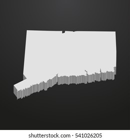 Connecticut State map in gray on a black background 3d