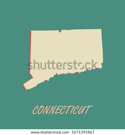 Connecticut State Us Map Vector Outlines Stock Vector Royalty Free - Connecticut-in-us-map