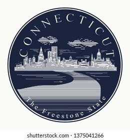 FRIDGE MAGNET CONNECTICUT Large USA America TOURIST