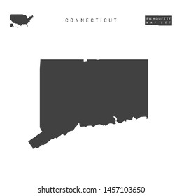 Connecticut US State Blank Vector Map Isolated on White Background. High-Detailed Black Silhouette Map of Connecticut.