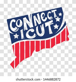 Connecticut, USA map with states, hand drawn lettering design for cutting sticker and laser cut, decoration and print