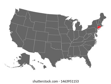 Connecticut vector map silhouette. High detailed illustration. United state of America country