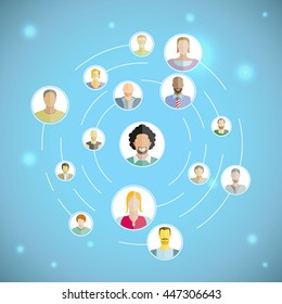 connecting people,  social network concept