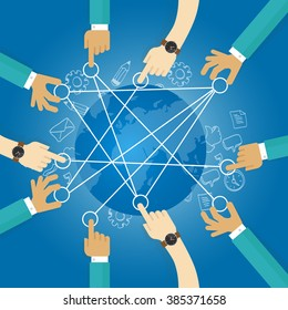 connecting world building transportation network globe collaboration team work interconnection infrastructure