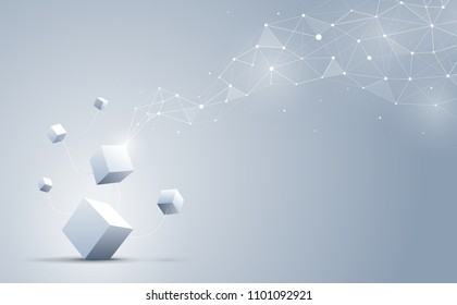 The connection of 3d cubes with abstract geometric polygonal with connecting dots and lines. Science and technology background. Big data and Internet. Abstract background. Vector illustration.