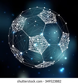 Connection abstract vector structure shaped in football ball. Futuristic technology wire frame. Mashed background. Geometric digital art illustration
